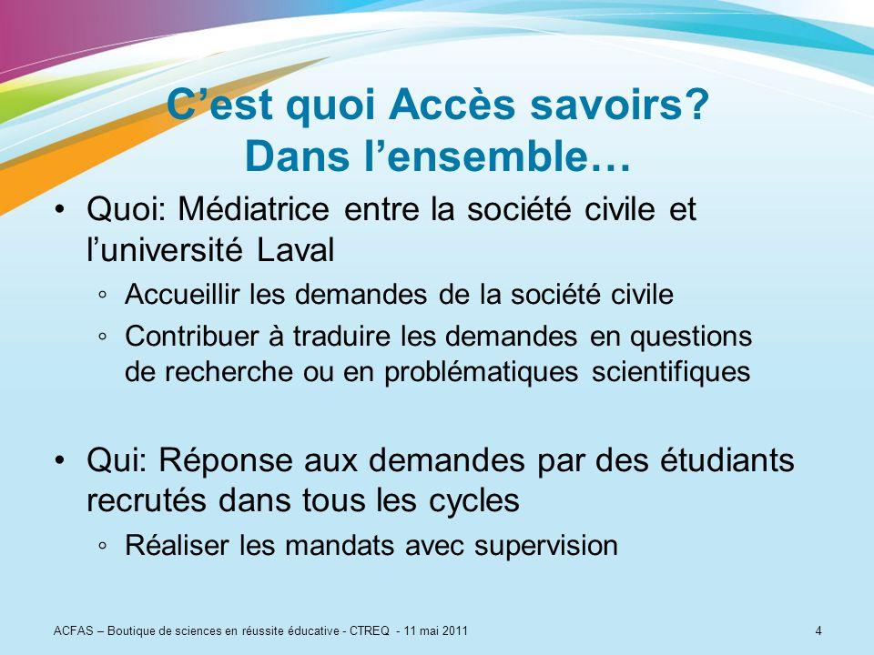 ACFAS – Boutique de sciences en réussite éducative - CTREQ - 11 mai 20114 Cest quoi Accès savoirs? Dans lensemble… Quoi: Médiatrice entre la société c