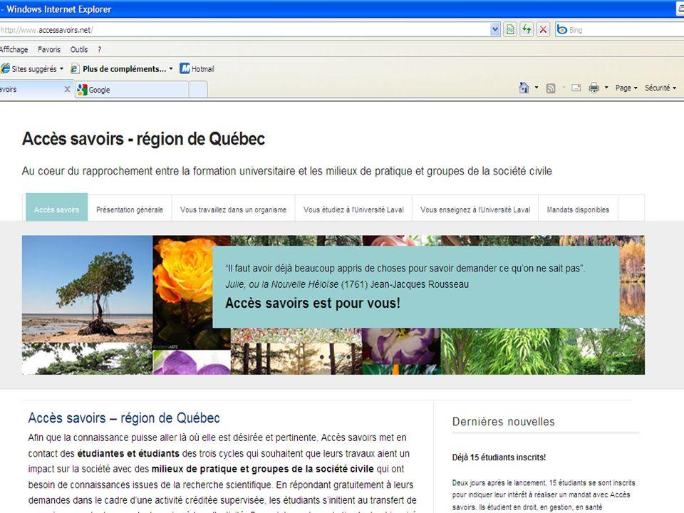 8 Site dAccès savoirs ACFAS – Boutique de sciences en réussite éducative - CTREQ - 11 mai 2011