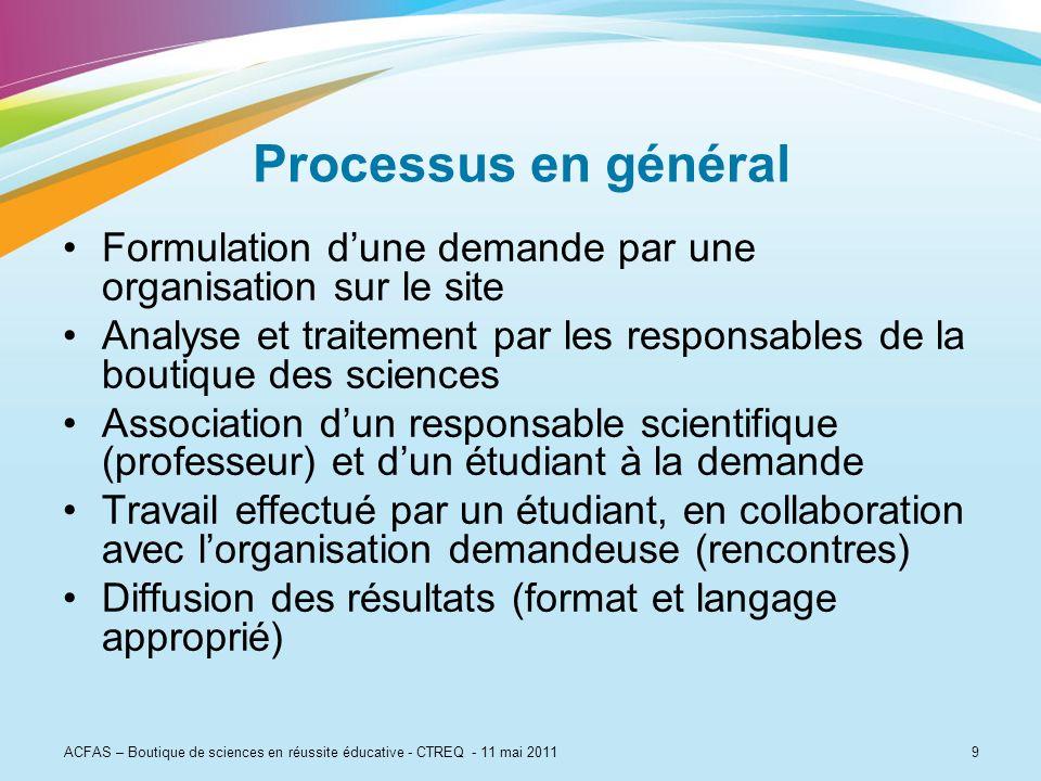 9 Processus en général Formulation dune demande par une organisation sur le site Analyse et traitement par les responsables de la boutique des science