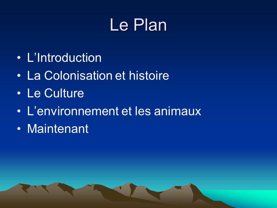 Le Plan LIntroduction La Colonisation et histoire Le Culture Lenvironnement et les animaux Maintenant
