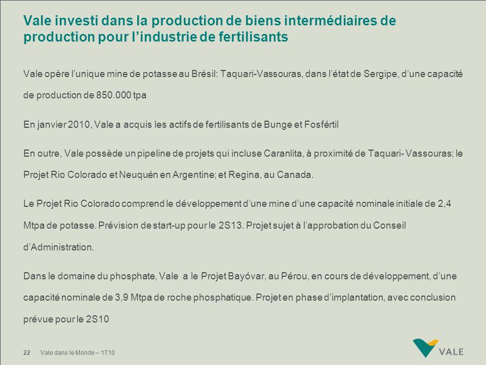 21Vale dans le Monde – 1T10 Vale attire les investissements pour stimuler la croissance de la sidérurgie au Brésil CSA (joint venture Vale et Thyssen
