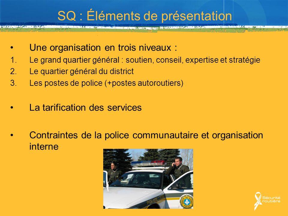 SQ : Éléments de présentation Une organisation en trois niveaux : 1.Le grand quartier général : soutien, conseil, expertise et stratégie 2.Le quartier