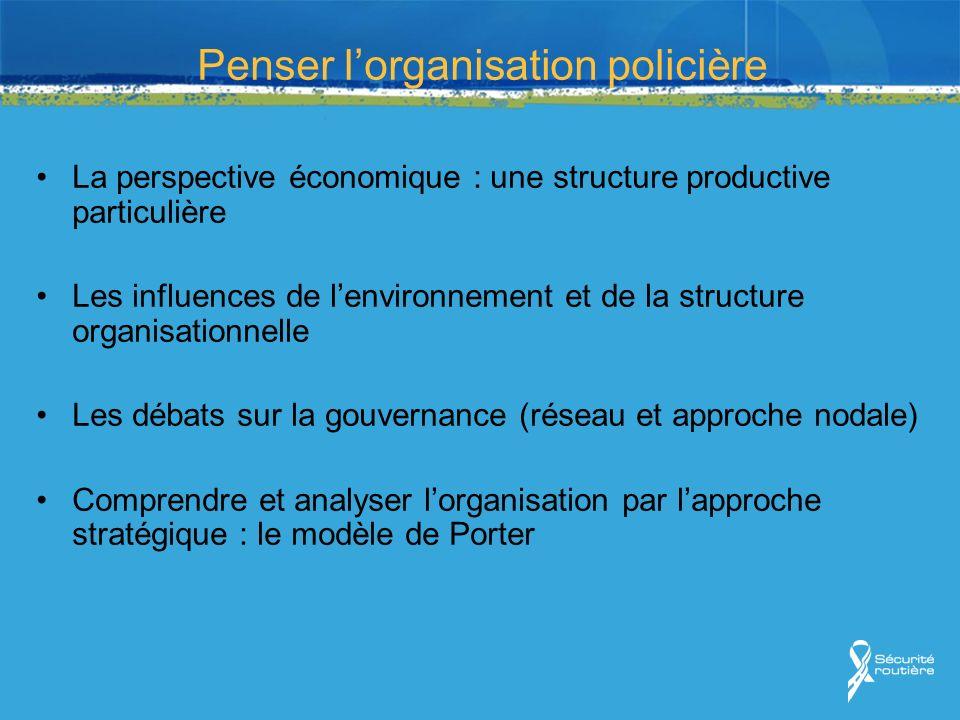 Penser lorganisation policière La perspective économique : une structure productive particulière Les influences de lenvironnement et de la structure o