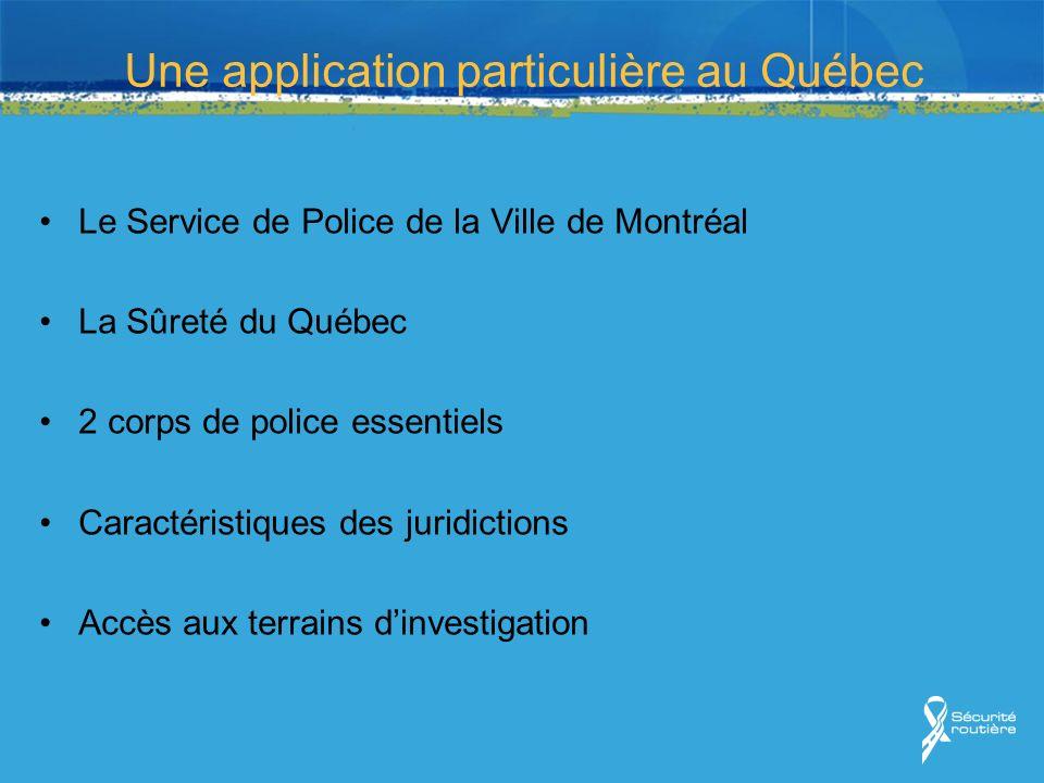 Une application particulière au Québec Le Service de Police de la Ville de Montréal La Sûreté du Québec 2 corps de police essentiels Caractéristiques