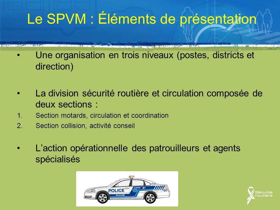 Le SPVM : Éléments de présentation Une organisation en trois niveaux (postes, districts et direction) La division sécurité routière et circulation com