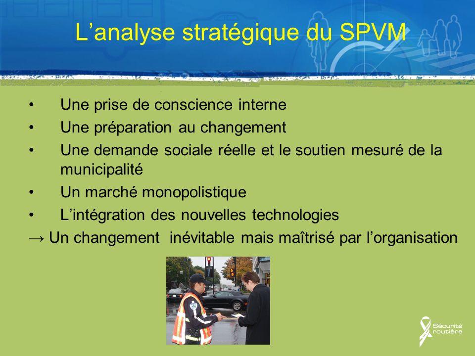 Lanalyse stratégique du SPVM Une prise de conscience interne Une préparation au changement Une demande sociale réelle et le soutien mesuré de la munic