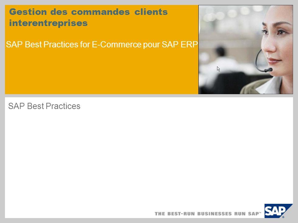 Gestion des commandes clients interentreprises SAP Best Practices for E-Commerce pour SAP ERP SAP Best Practices