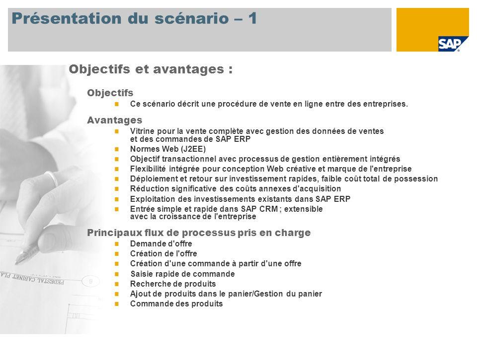 Présentation du scénario – 1 Objectifs Ce scénario décrit une procédure de vente en ligne entre des entreprises. Avantages Vitrine pour la vente compl