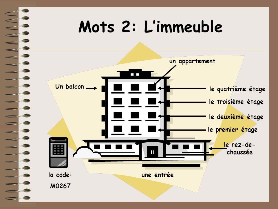 Mots 2: Limmeuble une entrée un appartement Un balcon le rez-de- chaussée le premier étage le deuxième étage le troisième étage le quatrième étage la