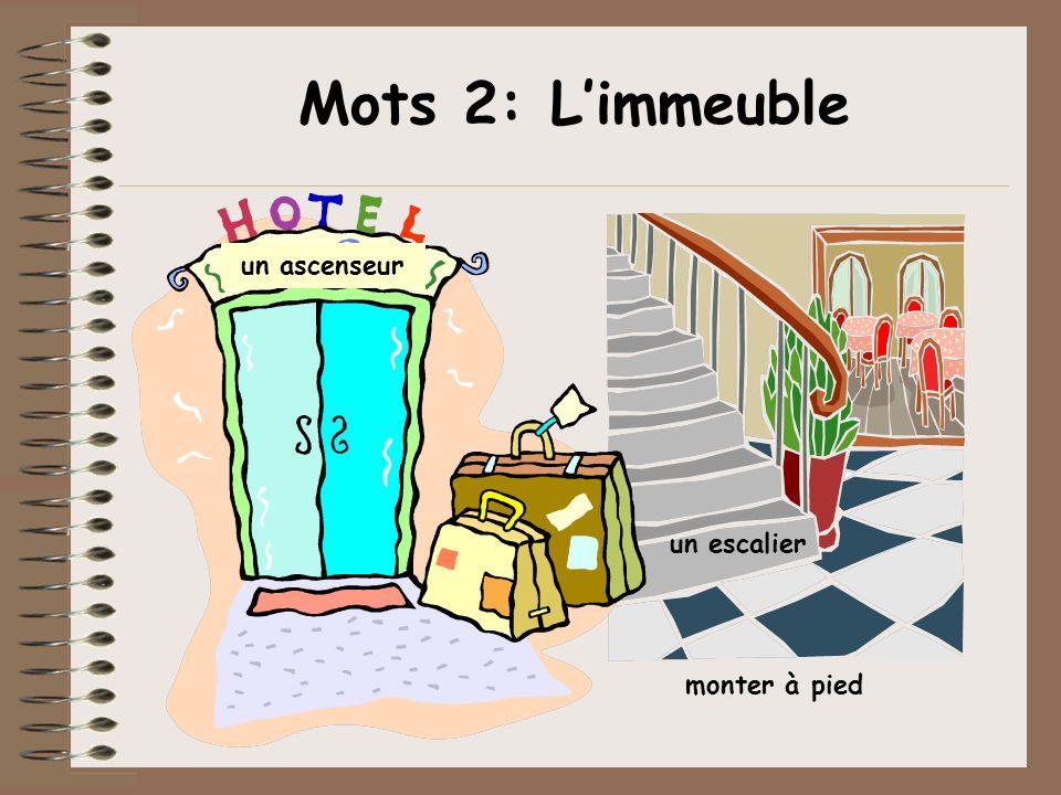 Mots 2: Limmeuble un escalier monter à pied un ascenseur