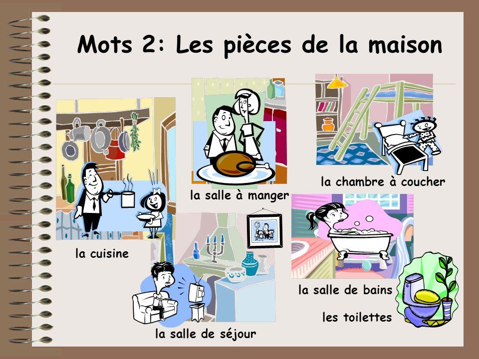Mots 2: Les pièces de la maison la salle à manger la salle de séjour la chambre à coucher la cuisine la salle de bains les toilettes