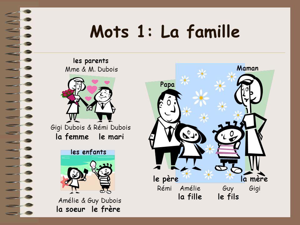 Mots 1: La famille la femme le mari Mme & M. Dubois Gigi Dubois & Rémi Dubois La famille Dubois la fille le fils Rémi Amélie Guy Gigi la soeur le frèr