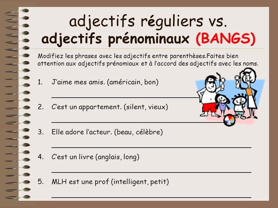 Modifiez les phrases avec les adjectifs entre parenthèses.Faites bien attention aux adjectifs prénomiaux et à laccord des adjectifs avec les noms. adj