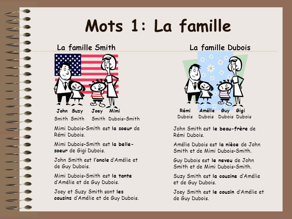Mots 1: La famille La famille Smith John Suzy Joey Mimi Smith Smith Smith Dubois-Smith Rémi Amélie Guy Gigi La famille Dubois Dubois Dubois Dubois Dub