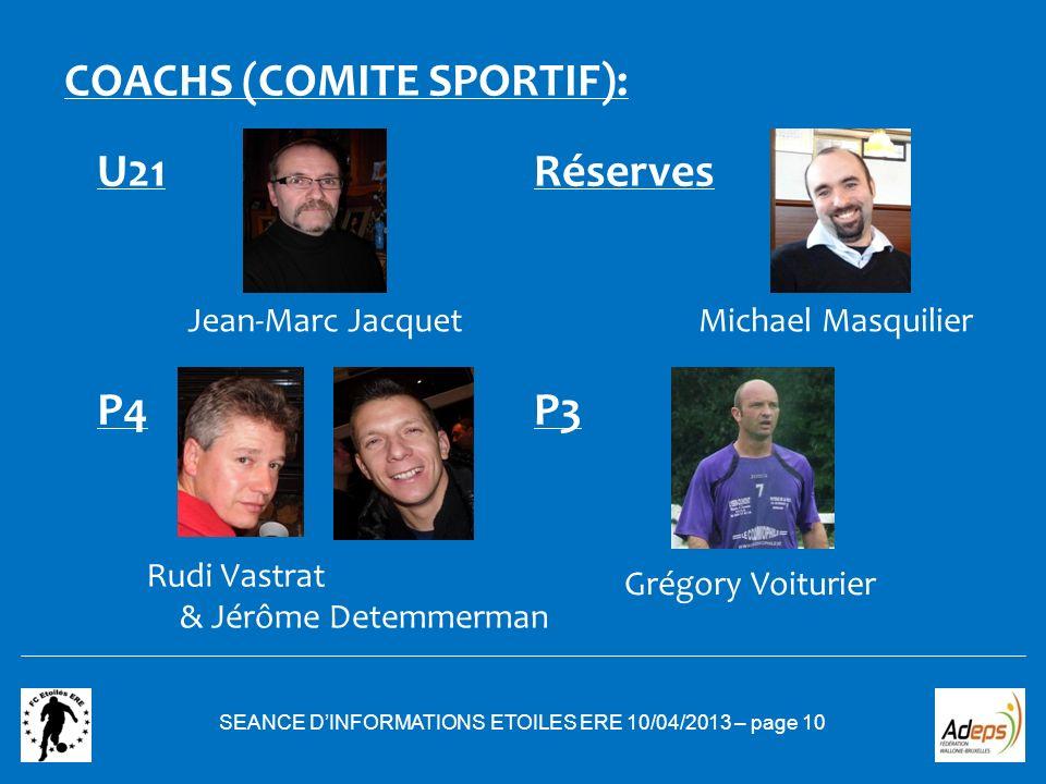 SEANCE DINFORMATIONS ETOILES ERE 10/04/2013 – page 10 COACHS (COMITE SPORTIF): U21 P3 Réserves P4 Rudi Vastrat Michael Masquilier Grégory Voiturier Je