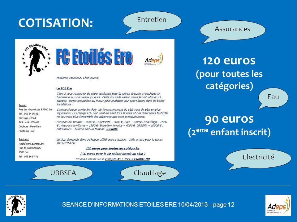 SEANCE DINFORMATIONS ETOILES ERE 10/04/2013 – page 12 COTISATION: 120 euros (pour toutes les catégories) 90 euros (2 ème enfant inscrit) Assurances En