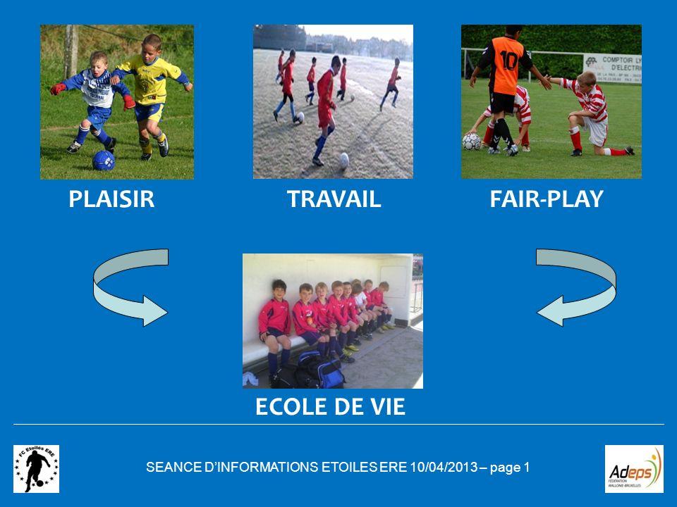 SEANCE DINFORMATIONS ETOILES ERE 10/04/2013 – page 1 PLAISIR ECOLE DE VIE TRAVAILFAIR-PLAY