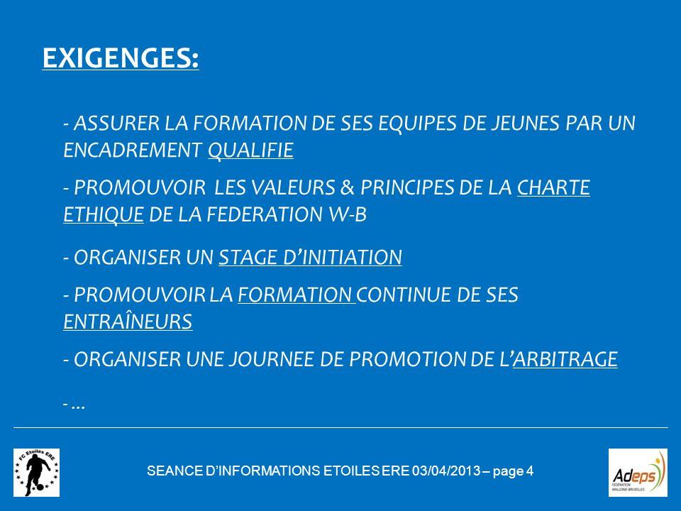 SEANCE DINFORMATIONS ETOILES ERE 03/04/2013 – page 4 EXIGENGES: - ASSURER LA FORMATION DE SES EQUIPES DE JEUNES PAR UN ENCADREMENT QUALIFIE - PROMOUVO