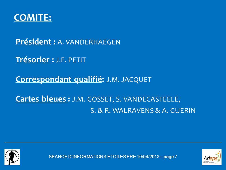 COMITE: Président : A. VANDERHAEGEN SEANCE DINFORMATIONS ETOILES ERE 10/04/2013 – page 7 Trésorier : J.F. PETIT Correspondant qualifié: J.M. JACQUET C