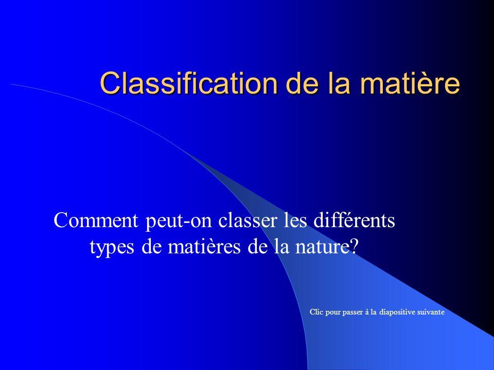 Classification de la matière Comment peut-on classer les différents types de matières de la nature? Clic pour passer à la diapositive suivante
