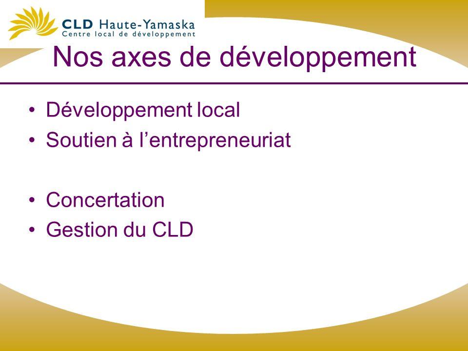 Nos axes de développement Développement local Soutien à lentrepreneuriat Concertation Gestion du CLD