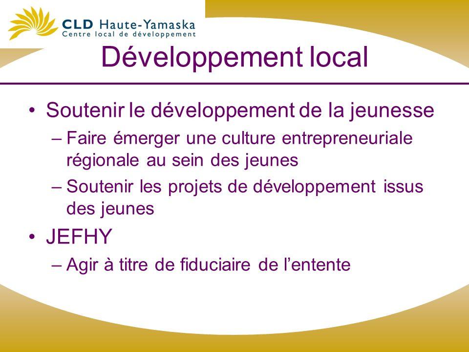 Développement local Soutenir le développement de la jeunesse –Faire émerger une culture entrepreneuriale régionale au sein des jeunes –Soutenir les pr