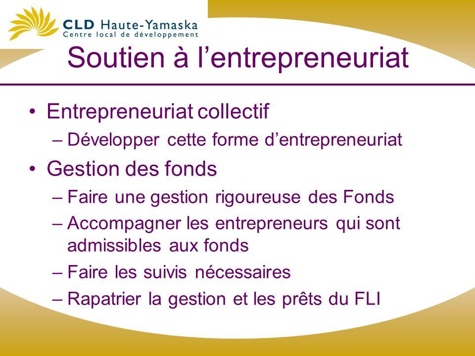 Soutien à lentrepreneuriat Entrepreneuriat collectif –Développer cette forme dentrepreneuriat Gestion des fonds –Faire une gestion rigoureuse des Fond