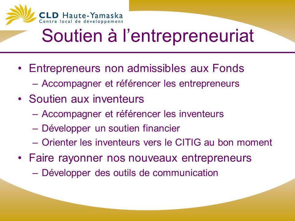 Soutien à lentrepreneuriat Entrepreneurs non admissibles aux Fonds –Accompagner et référencer les entrepreneurs Soutien aux inventeurs –Accompagner et
