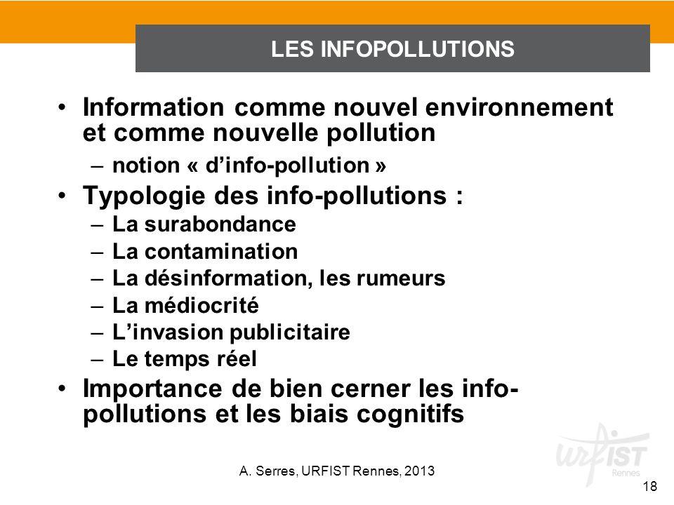 Information comme nouvel environnement et comme nouvelle pollution –notion « dinfo-pollution » Typologie des info-pollutions : –La surabondance –La co