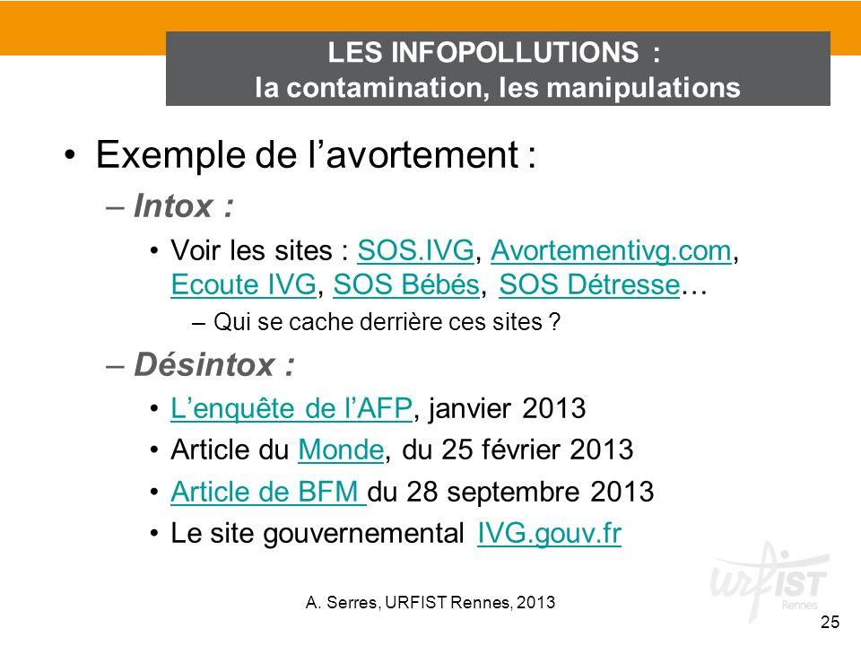 Exemple de lavortement : –Intox : Voir les sites : SOS.IVG, Avortementivg.com, Ecoute IVG, SOS Bébés, SOS Détresse…SOS.IVGAvortementivg.com Ecoute IVG