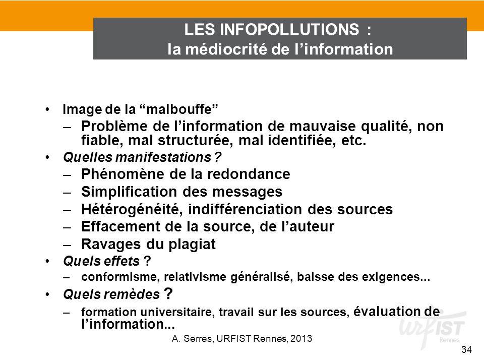 Image de la malbouffe –Problème de linformation de mauvaise qualité, non fiable, mal structurée, mal identifiée, etc. Quelles manifestations ? –Phénom