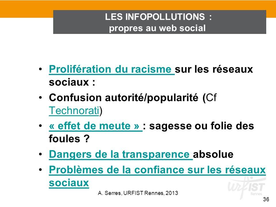 Prolifération du racisme sur les réseaux sociaux :Prolifération du racisme Confusion autorité/popularité (Cf Technorati) Technorati « effet de meute »