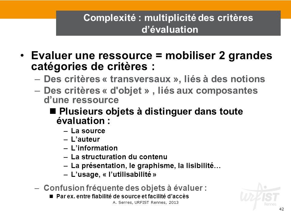 A. Serres, URFIST Rennes, 2013 42 Evaluer une ressource = mobiliser 2 grandes catégories de critères : –Des critères « transversaux », liés à des noti
