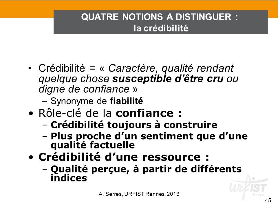 Crédibilité = « Caractère, qualité rendant quelque chose susceptible d'être cru ou digne de confiance » –Synonyme de fiabilité Rôle-clé de la confianc