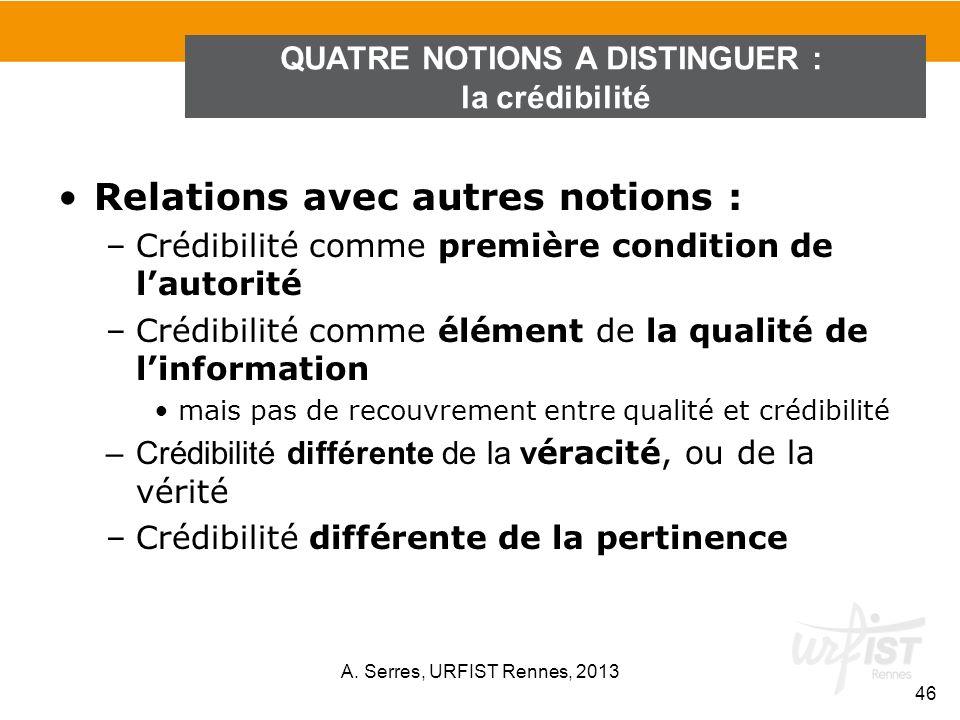 Relations avec autres notions : –Crédibilité comme première condition de lautorité –Crédibilité comme élément de la qualité de linformation mais pas d