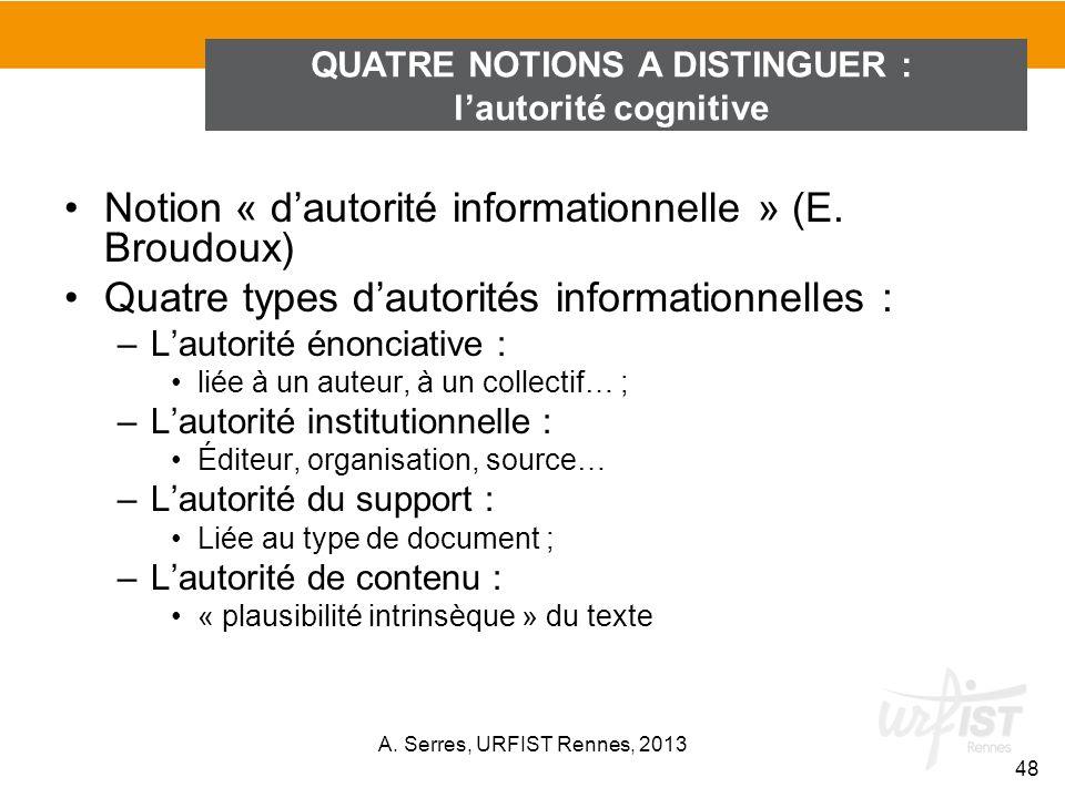 Notion « dautorité informationnelle » (E. Broudoux) Quatre types dautorités informationnelles : –Lautorité énonciative : liée à un auteur, à un collec