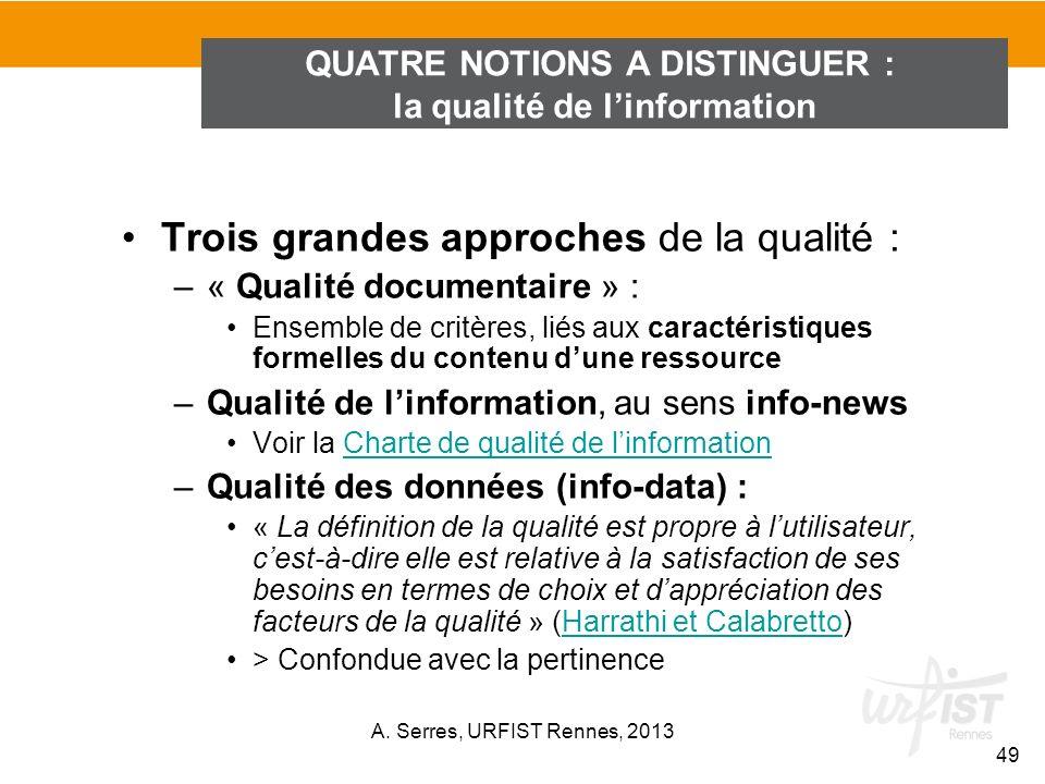 Trois grandes approches de la qualité : –« Qualité documentaire » : Ensemble de critères, liés aux caractéristiques formelles du contenu dune ressourc