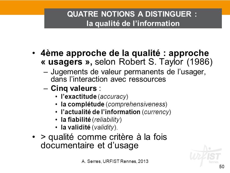 4ème approche de la qualité : approche « usagers », selon Robert S. Taylor (1986) –Jugements de valeur permanents de lusager, dans linteraction avec r