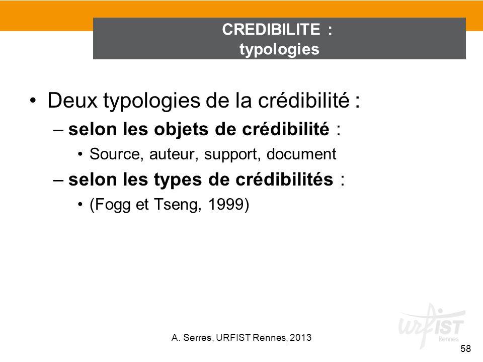 Deux typologies de la crédibilité : –selon les objets de crédibilité : Source, auteur, support, document –selon les types de crédibilités : (Fogg et T
