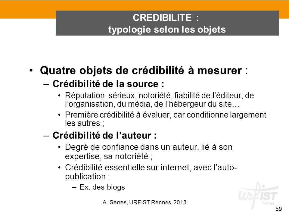 Quatre objets de crédibilité à mesurer : –Crédibilité de la source : Réputation, sérieux, notoriété, fiabilité de léditeur, de lorganisation, du média