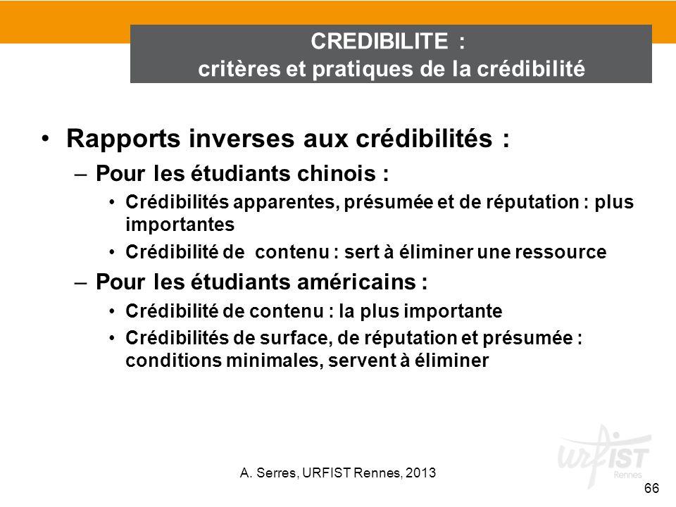 Rapports inverses aux crédibilités : –Pour les étudiants chinois : Crédibilités apparentes, présumée et de réputation : plus importantes Crédibilité d