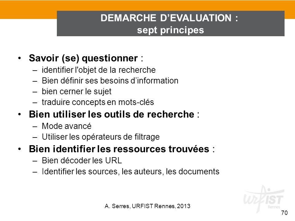 Savoir (se) questionner : –identifier l'objet de la recherche –Bien définir ses besoins dinformation –bien cerner le sujet –traduire concepts en mots-