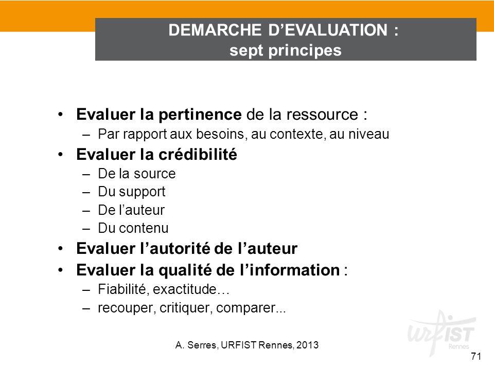 Evaluer la pertinence de la ressource : –Par rapport aux besoins, au contexte, au niveau Evaluer la crédibilité –De la source –Du support –De lauteur