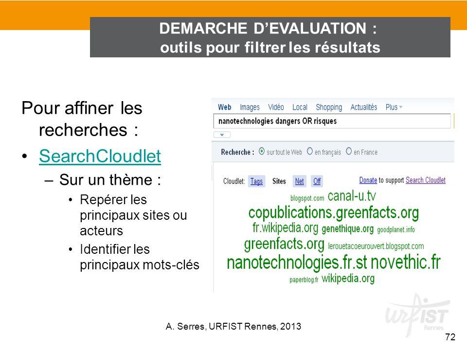 Pour affiner les recherches : SearchCloudlet –Sur un thème : Repérer les principaux sites ou acteurs Identifier les principaux mots-clés DEMARCHE DEVA