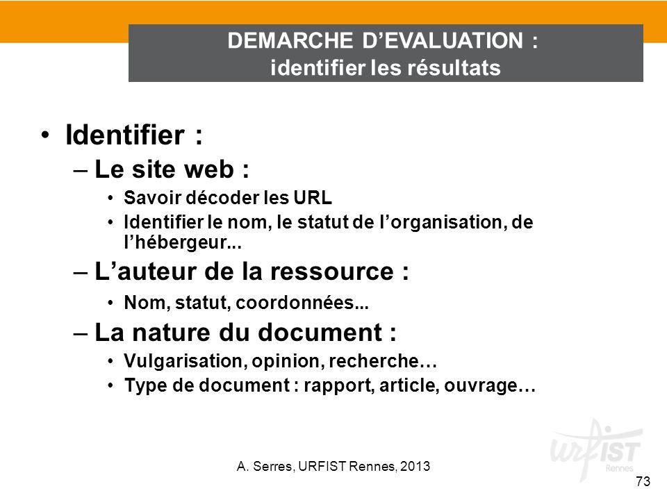 Identifier : –Le site web : Savoir décoder les URL Identifier le nom, le statut de lorganisation, de lhébergeur... –Lauteur de la ressource : Nom, sta