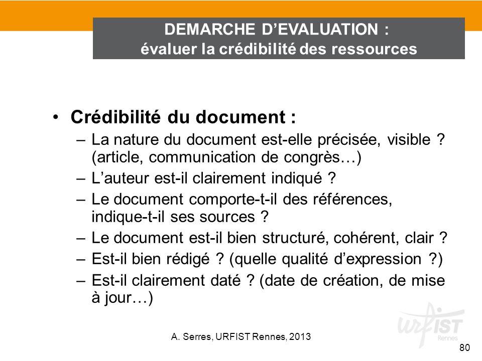 Crédibilité du document : –La nature du document est-elle précisée, visible ? (article, communication de congrès…) –Lauteur est-il clairement indiqué