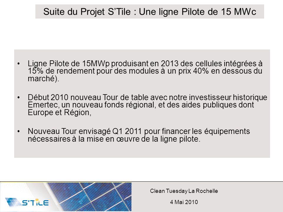 Clean Tuesday La Rochelle 4 Mai 2010 Ligne Pilote de 15MWp produisant en 2013 des cellules intégrées à 15% de rendement pour des modules à un prix 40%