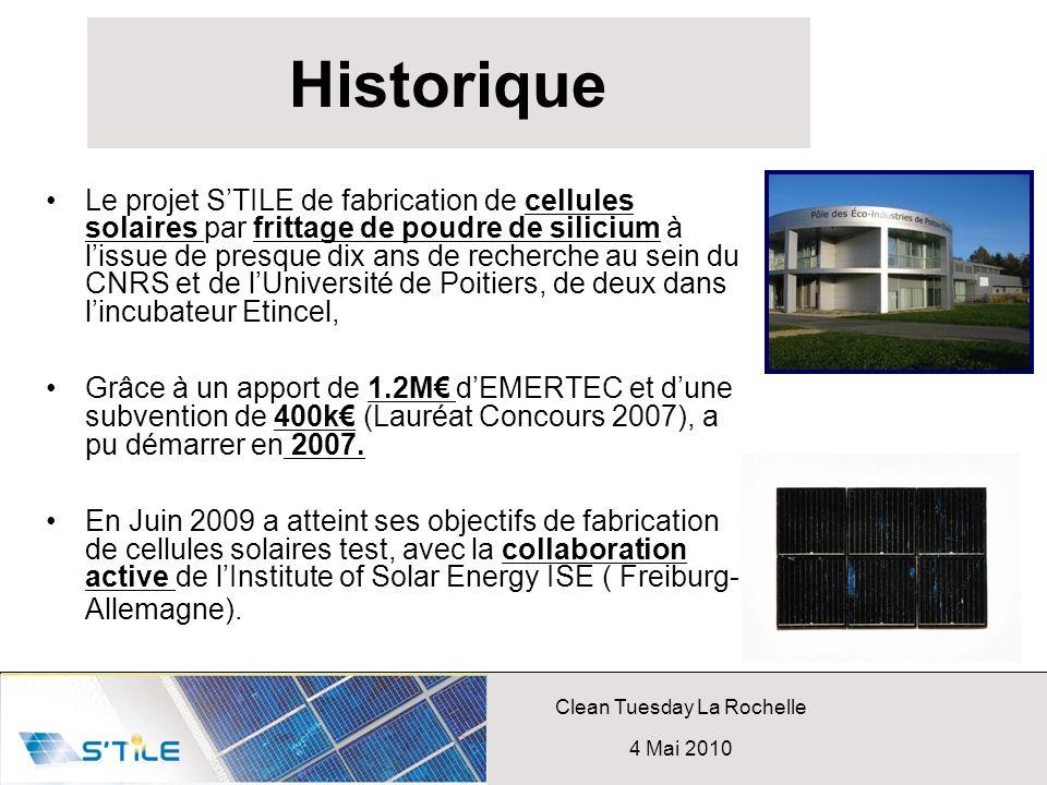 Clean Tuesday La Rochelle 4 Mai 2010 Historique Le projet STILE de fabrication de cellules solaires par frittage de poudre de silicium à lissue de pre