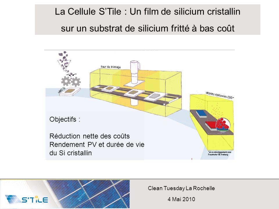 Clean Tuesday La Rochelle 4 Mai 2010 La Cellule STile : Un film de silicium cristallin sur un substrat de silicium fritté à bas coût Objectifs : Réduc