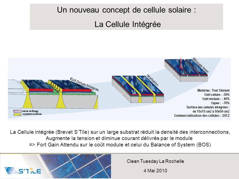 Clean Tuesday La Rochelle 4 Mai 2010 Un nouveau concept de cellule solaire : La Cellule Intégrée La Cellule intégrée (Brevet STile) sur un large subst